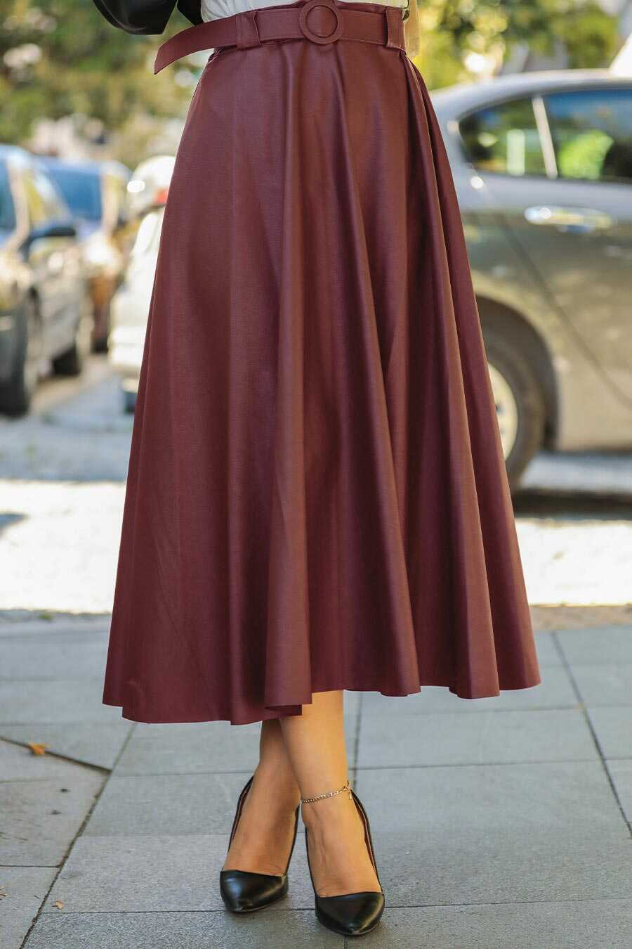 Claret Red Hijab Skirt 1288BR