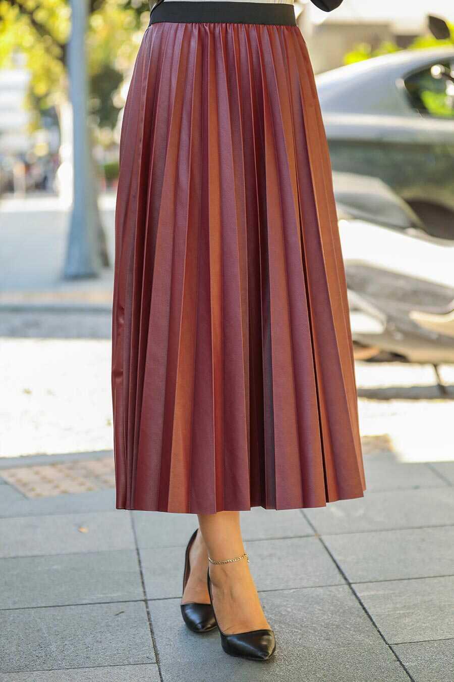 Claret Red Hijab Skirt 12911BR