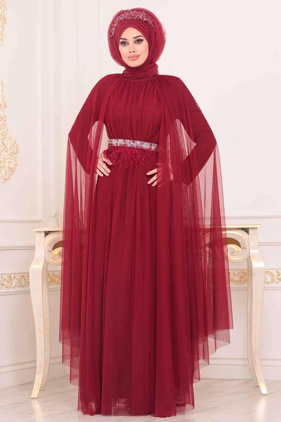 Claret Red Hijab Evening Dress 3906BR