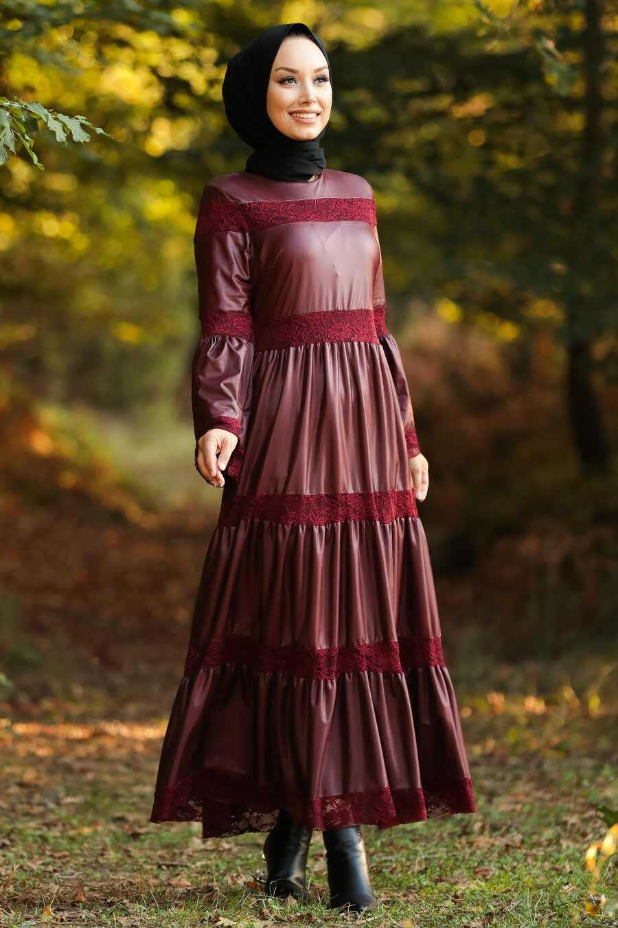 Claret Red Leather Dress 33550BR