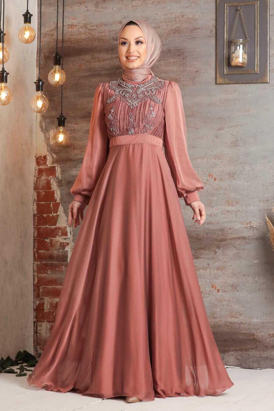 Copper Hijab Evening Dress 2155BKR