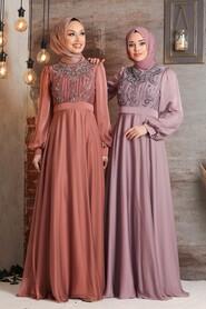 Copper Hijab Evening Dress 2155BKR - Thumbnail
