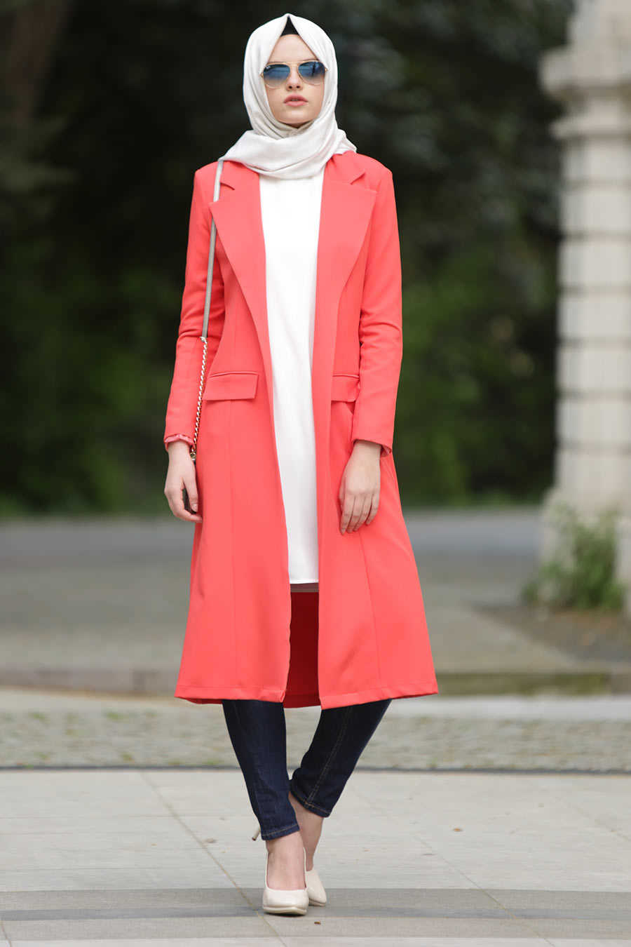 Coral Colour Hijab Trench Coat 5047MR