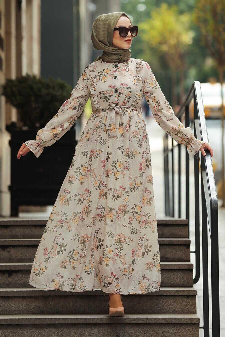Cream Hijab Daily Dress 10501KR
