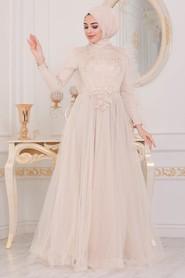 Cream Hijab Evening Dress 40781KR - Thumbnail