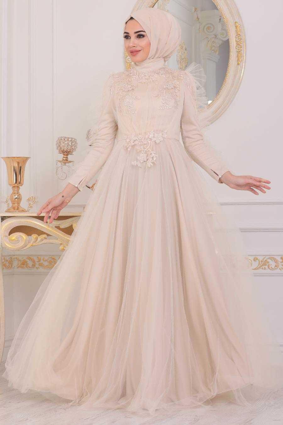 Cream Hijab Evening Dress 40781KR