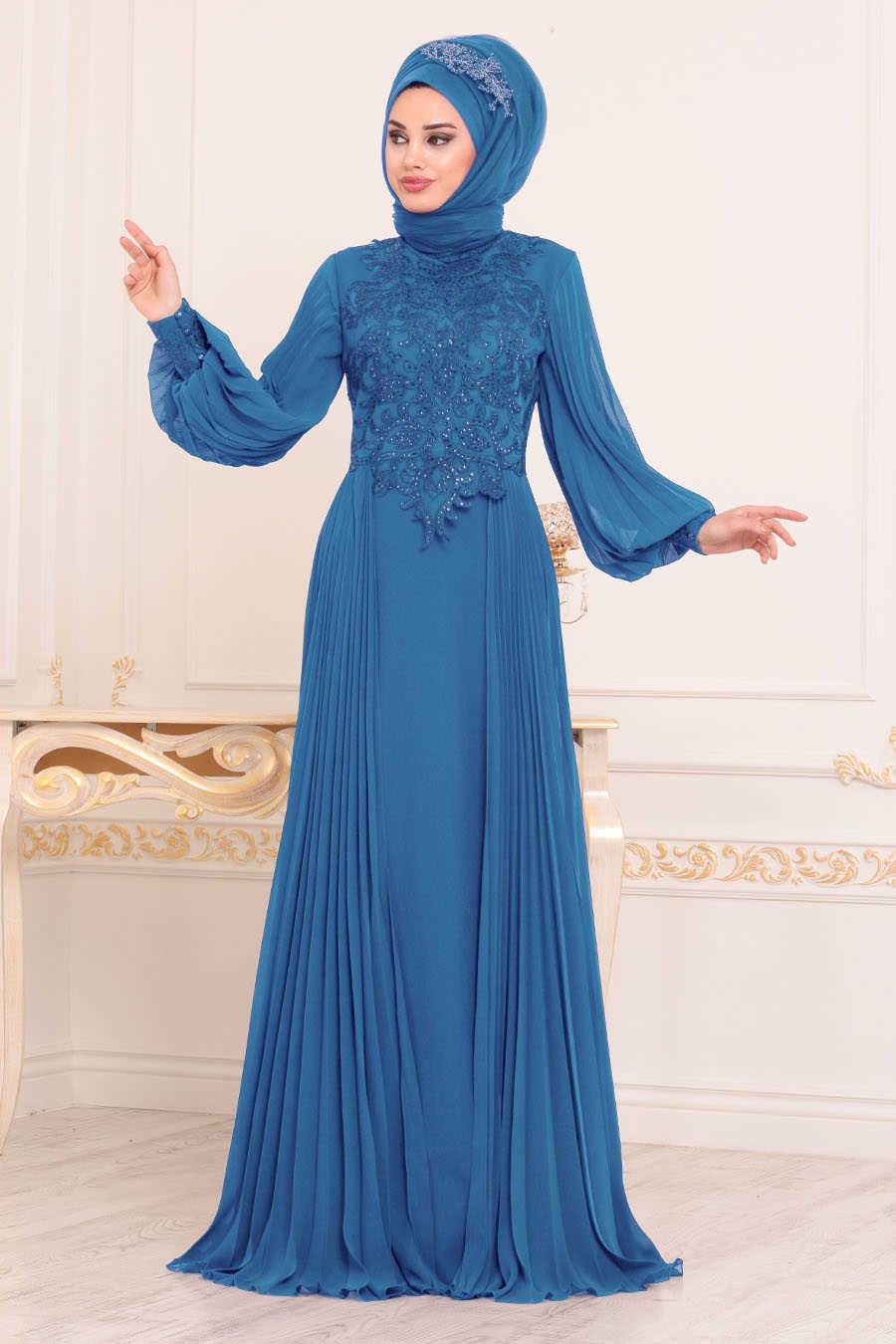 Dantel Detaylı İndigo Mavisi Tesettür Abiye Elbise 46220IM