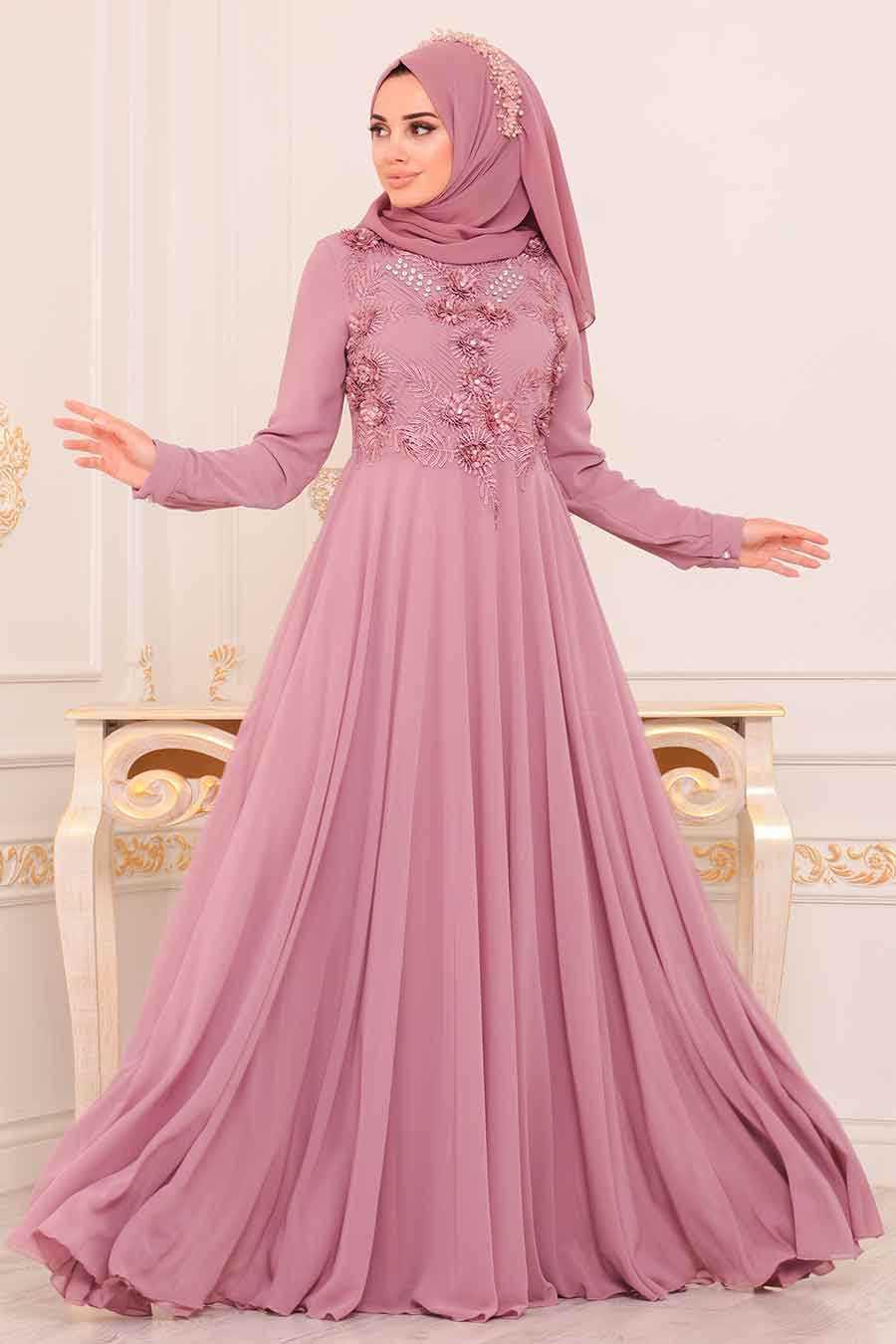 Dantel Detaylı Pudra Tesettür Abiye Elbise 84701PD