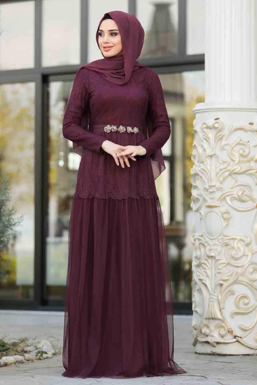 Dantel İşlemeli Bordo Tesettür Abiye Elbise 3980BR