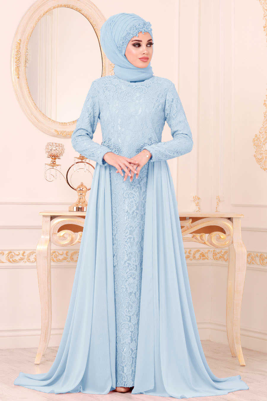 Dantelli Bebek Mavisi Tesettür Abiye Elbise 9105BM