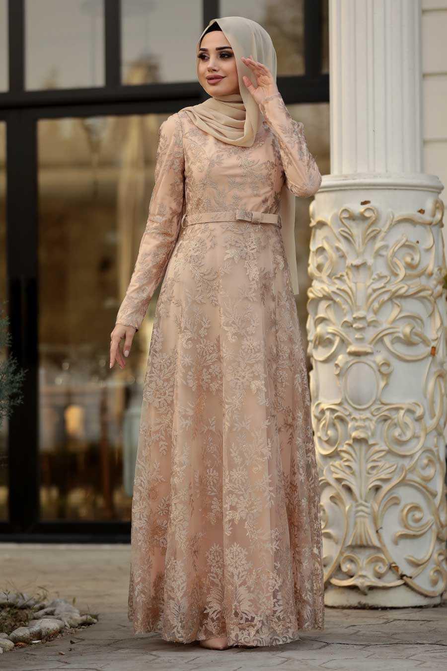 Dantelli Gold Tesettür Abiye Elbise 8681GOLD