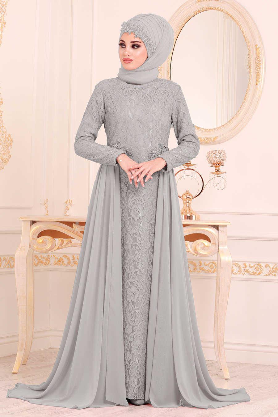 Dantelli Gri Tesettür Abiye Elbise 9105GR