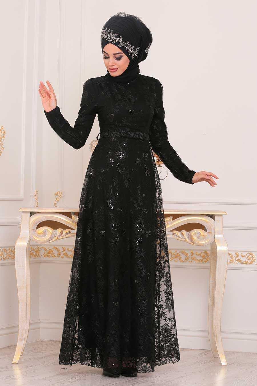 Dantelli Siyah Tesettür Abiye Elbise 8681S