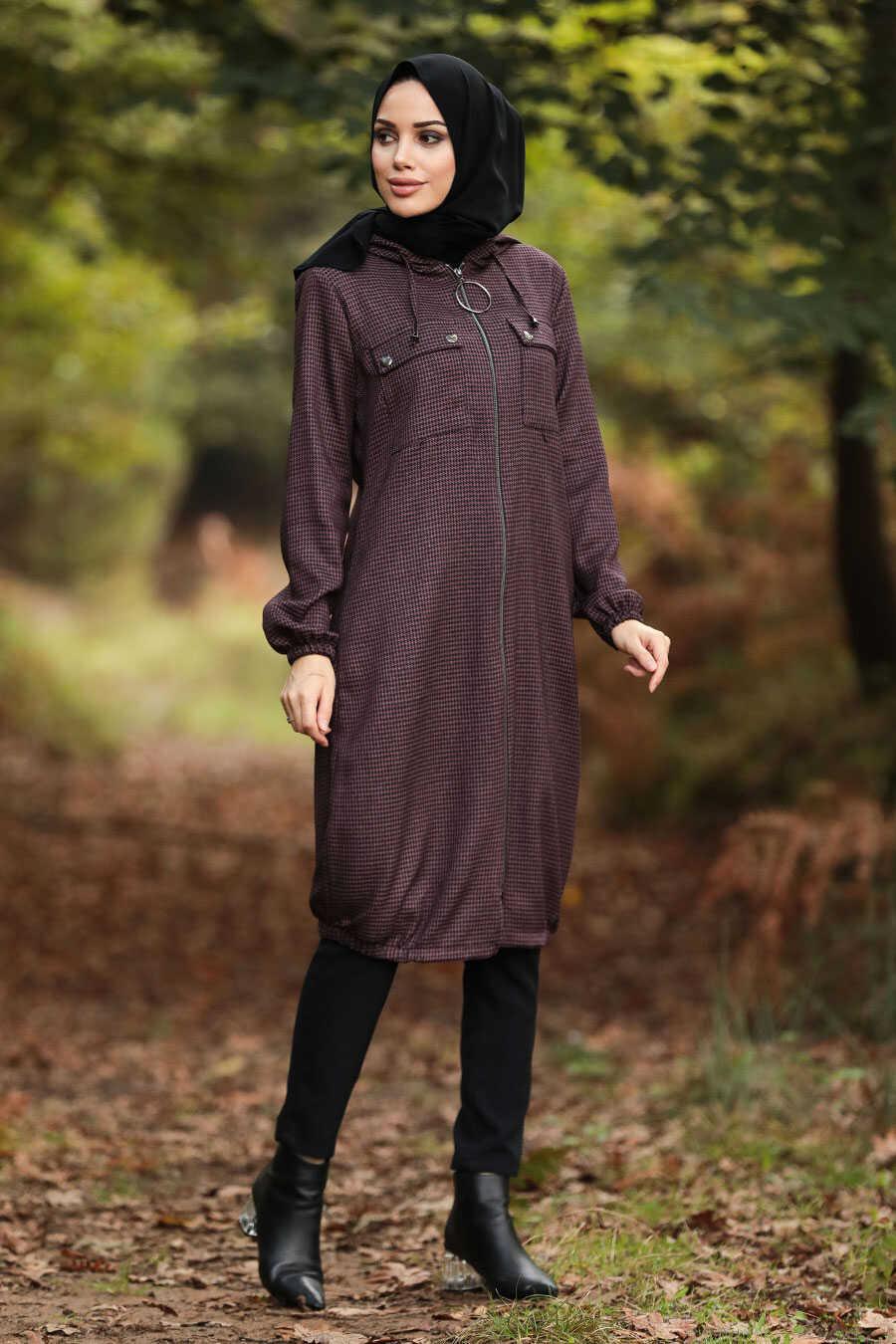 Dark Dusty Rose Hijab Coat 503KGK