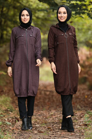 Dark Dusty Rose Hijab Coat 503KGK - Thumbnail