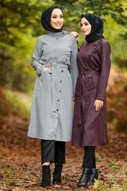 Dark Dusty Rose Hijab Coat 5575KGK - Thumbnail