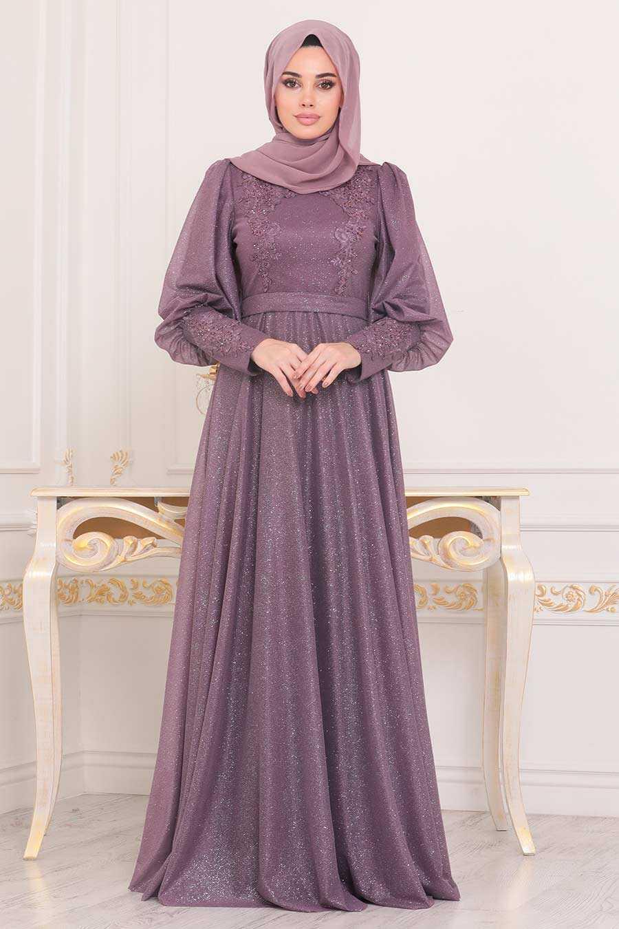 Dark Dusty Rose Hijab Evening Dress 21521KGK