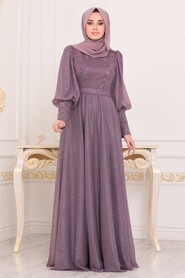 Dark Dusty Rose Hijab Evening Dress 21521KGK - Thumbnail