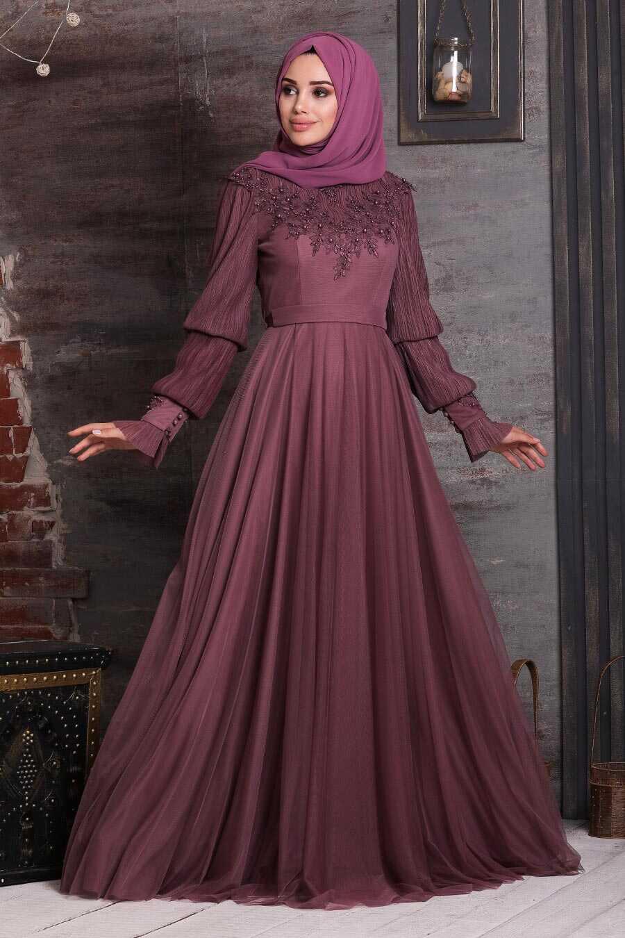 Dark Dusty Rose Hijab Evening Dress 21780KGK