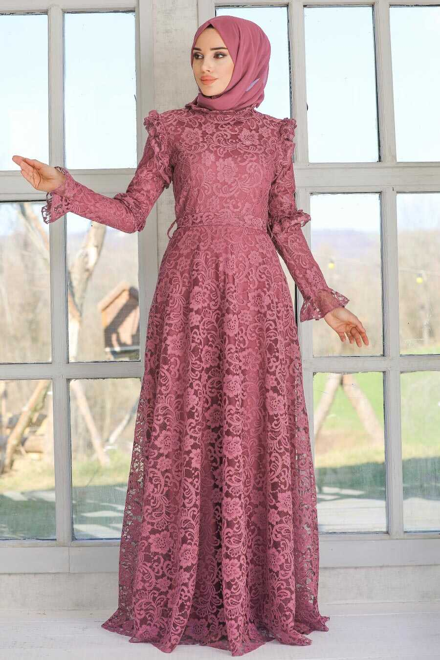 Dark Dusty Rose Hijab Evening Dress 54750KGK