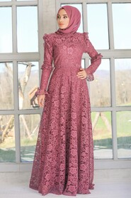 Dark Dusty Rose Hijab Evening Dress 54750KGK - Thumbnail