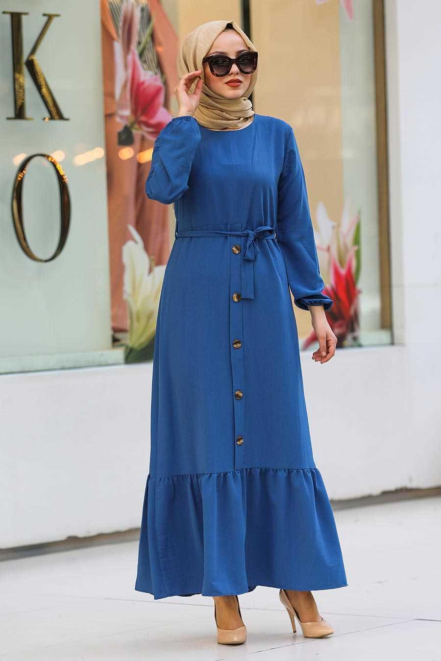 Dark Indigo Blue Hijab Dress 472IM