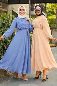 Dark Lila Hijab Dress 1273KLILA - Thumbnail