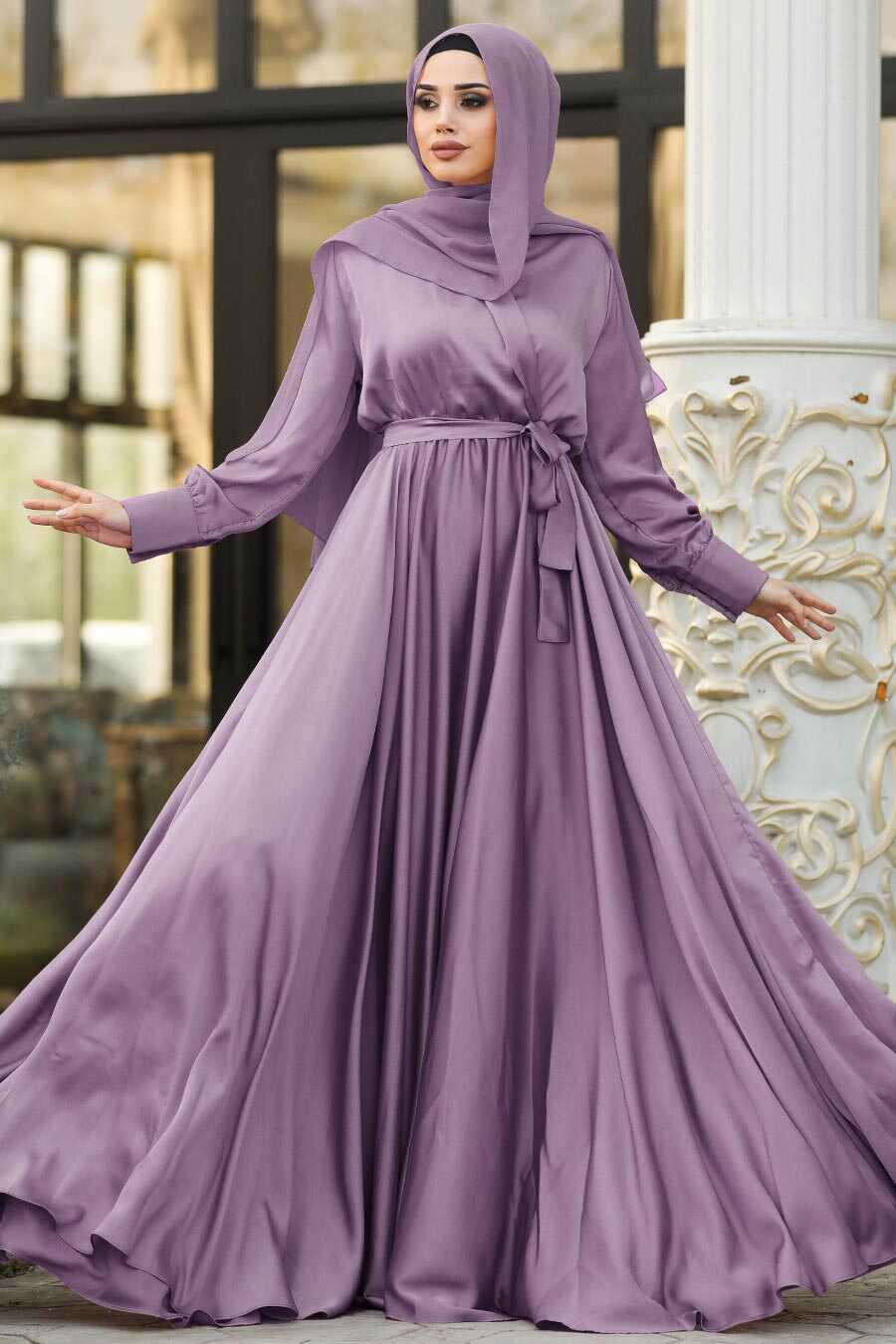 Dark Lila Hijab Evening Dress 1418KLILA