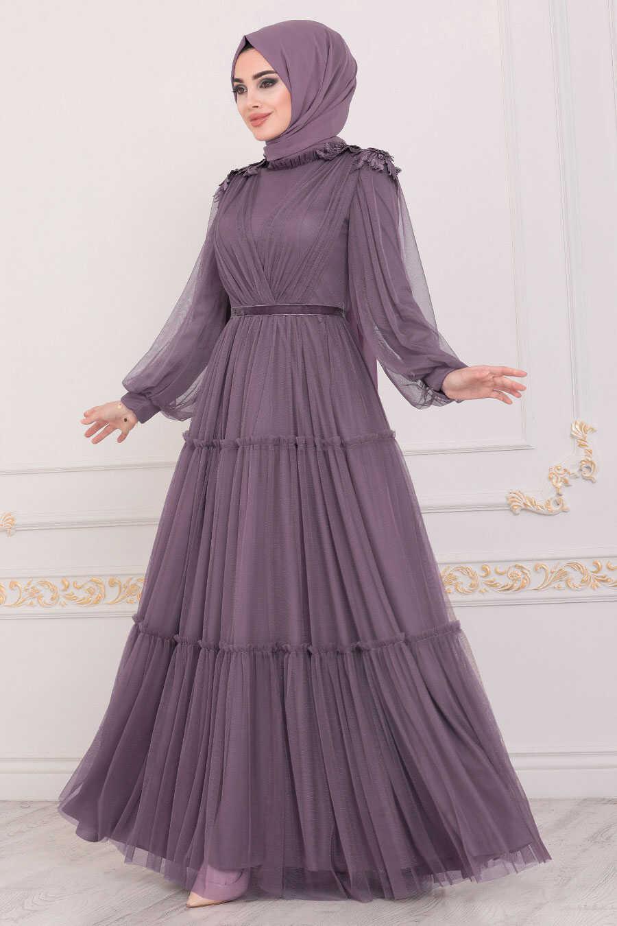 Dark Lila Hijab Evening Dress 4072KLILA