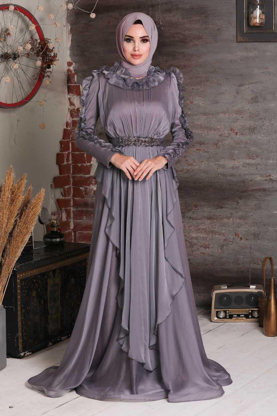Dark Lila Hijab Evening Dress 4112KLILA