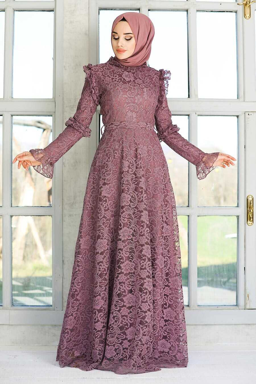 Dark Lila Hijab Evening Dress 54750KLILA