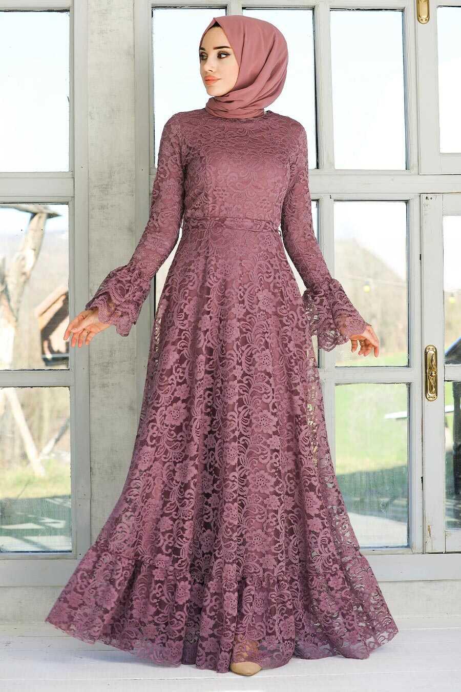 Dark Lila Hijab Evening Dress 5476KLILA