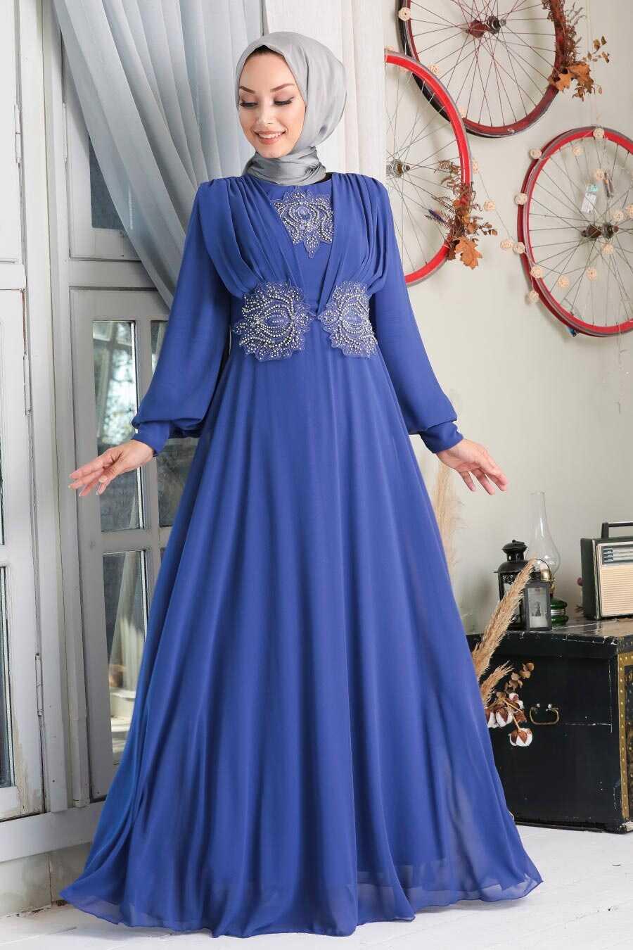 Dark Lila Hijab Evening Dress 9118KLILA