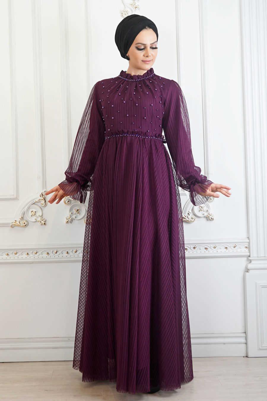 Dark Purple Hijab Evening Dress 22450MU