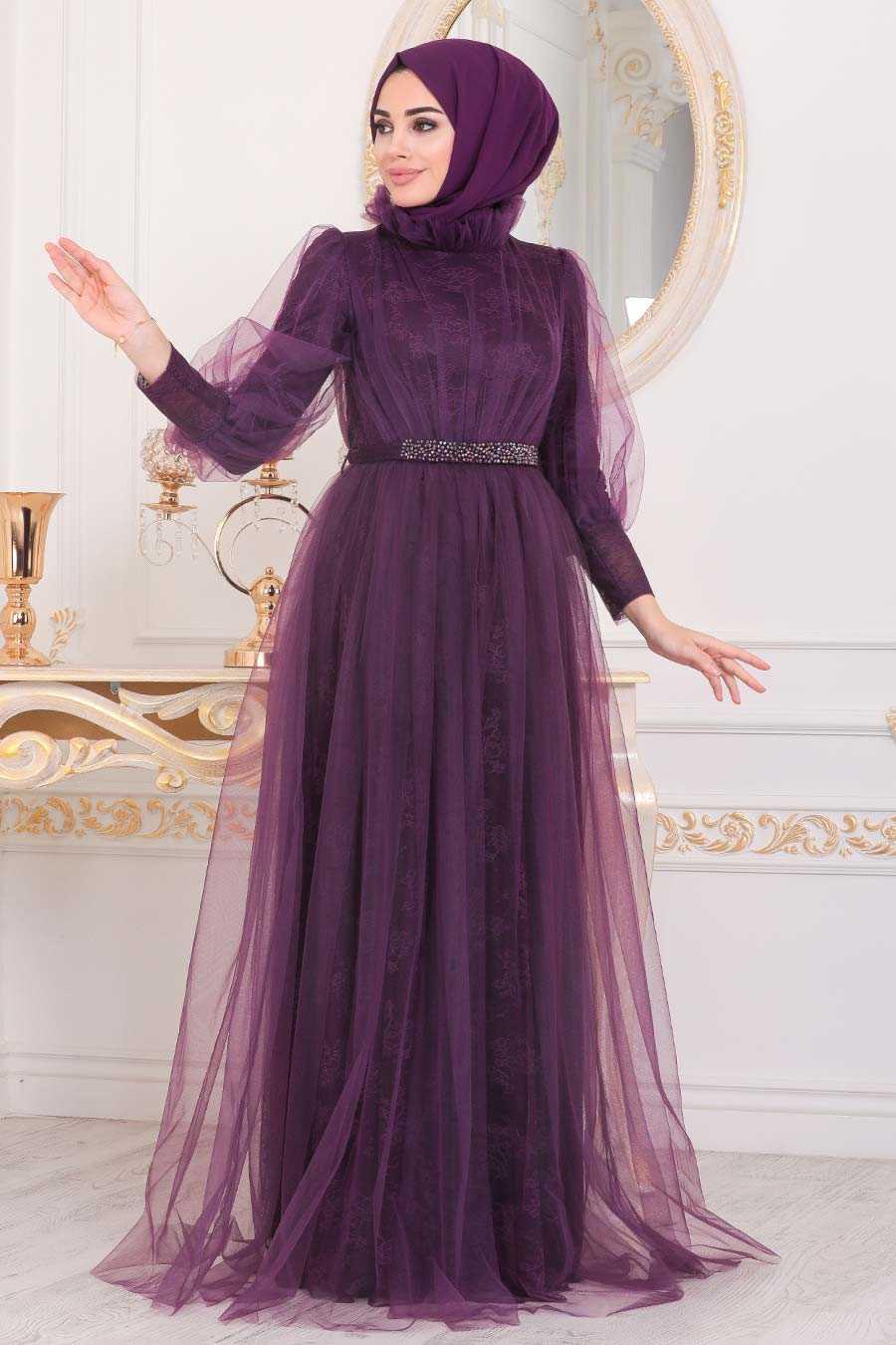 Dark Purple Hijab Evening Dress 40440MU