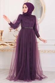 Dark Purple Hijab Evening Dress 40440MU - Thumbnail