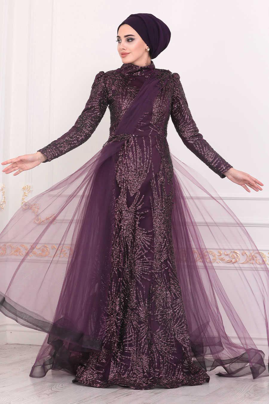 Dark Purple Hijab Evening Dress 40732MU