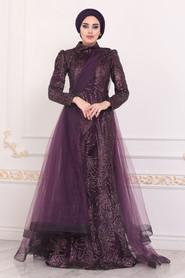 Dark Purple Hijab Evening Dress 40732MU - Thumbnail