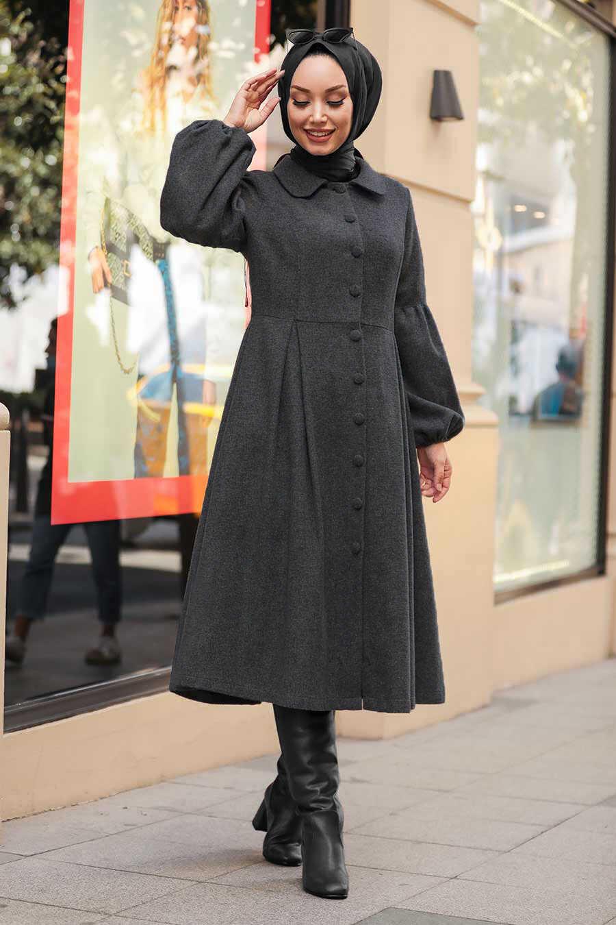 Dark Smoke Color Hijab Coat 5592KFU