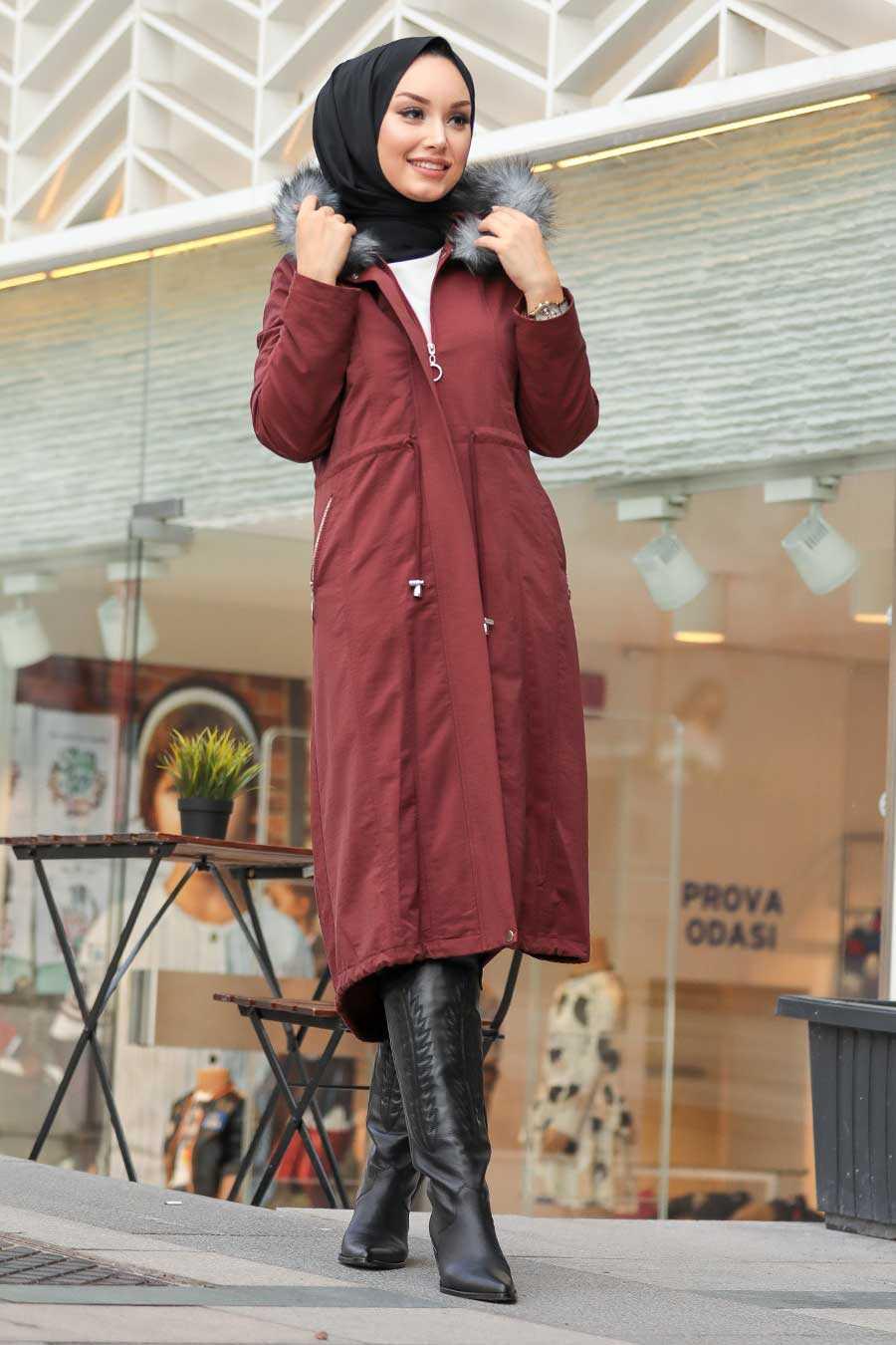 Dark Terra Cotta Hijab Parka Coat 9068KKRMT
