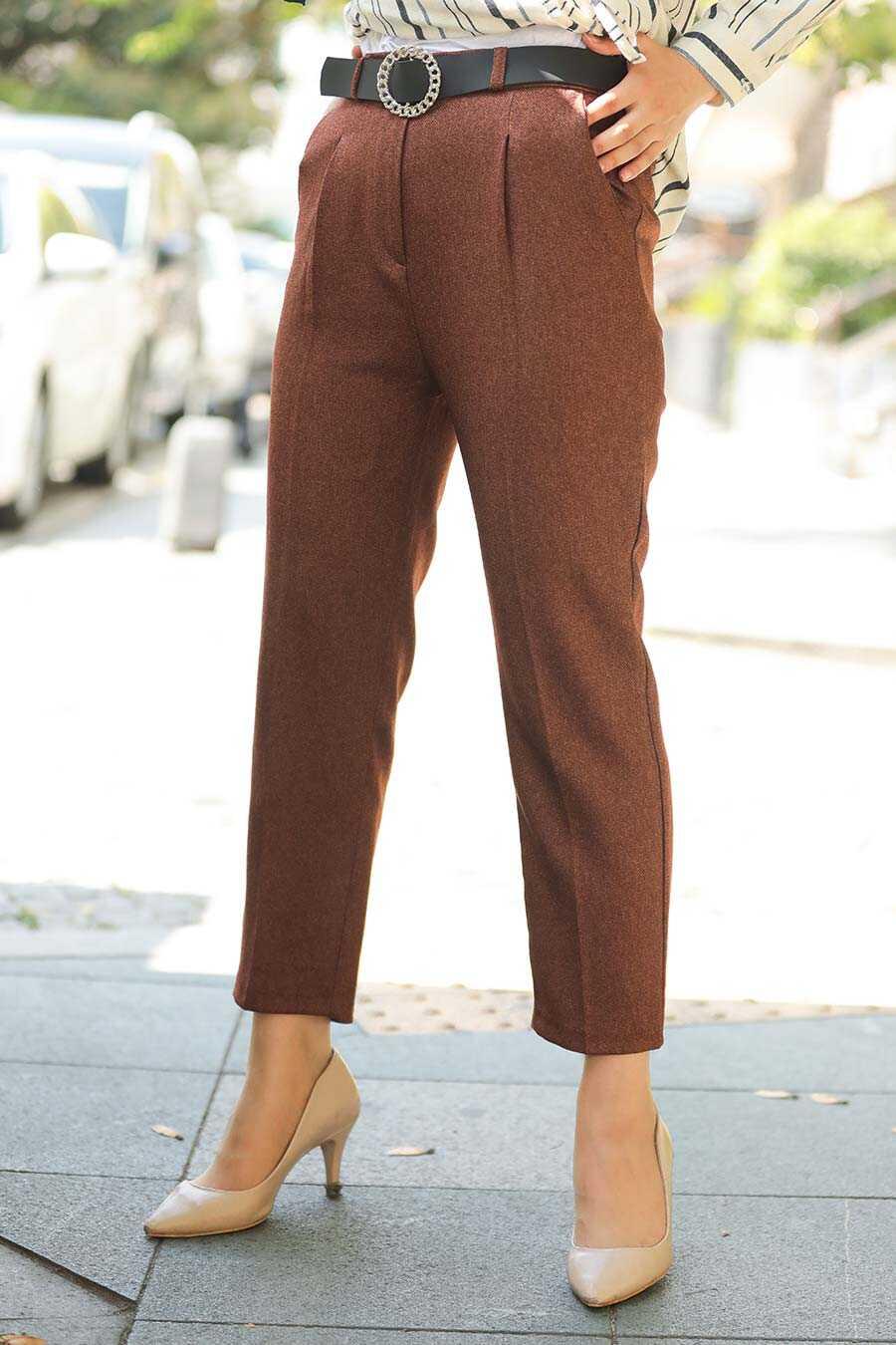 Dark Terra Cotta Hijab Trousers 10620KKRMT