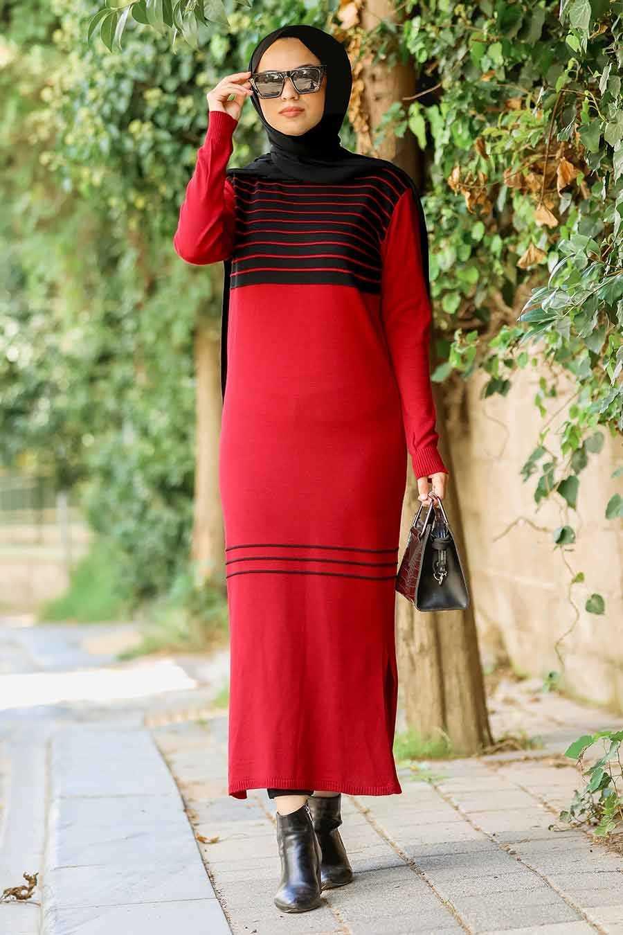 Desenli Kırmızı Tesettür Triko Elbise 15718K