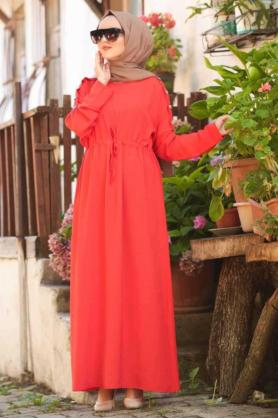 Düğme Detaylı Turuncu Tesettür Elbise 8021T