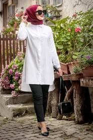 Düğmeli Beyaz Tesettür Tunik 34230B - Thumbnail