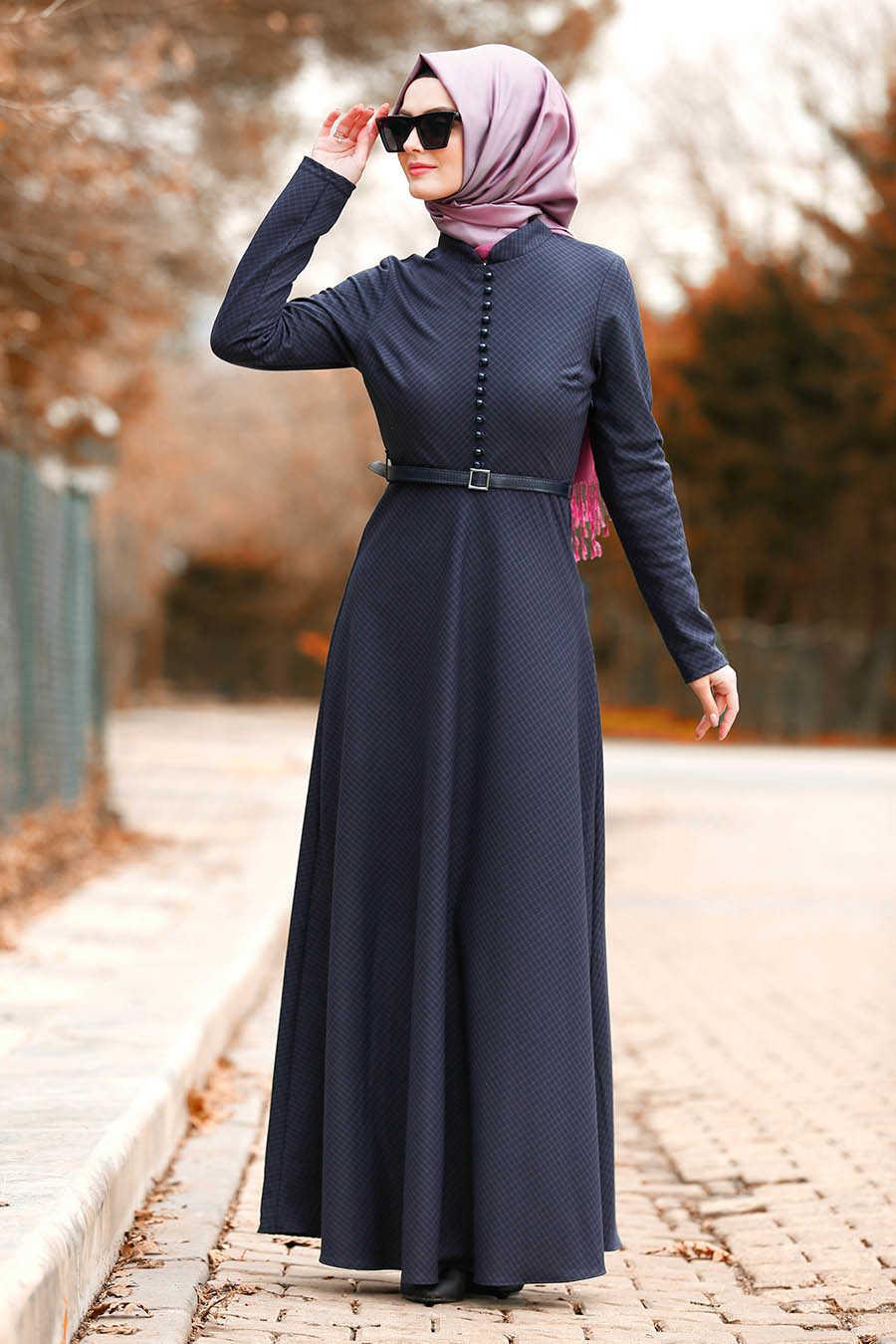 Düğmeli Mor Tesettür Elbise 8440MOR