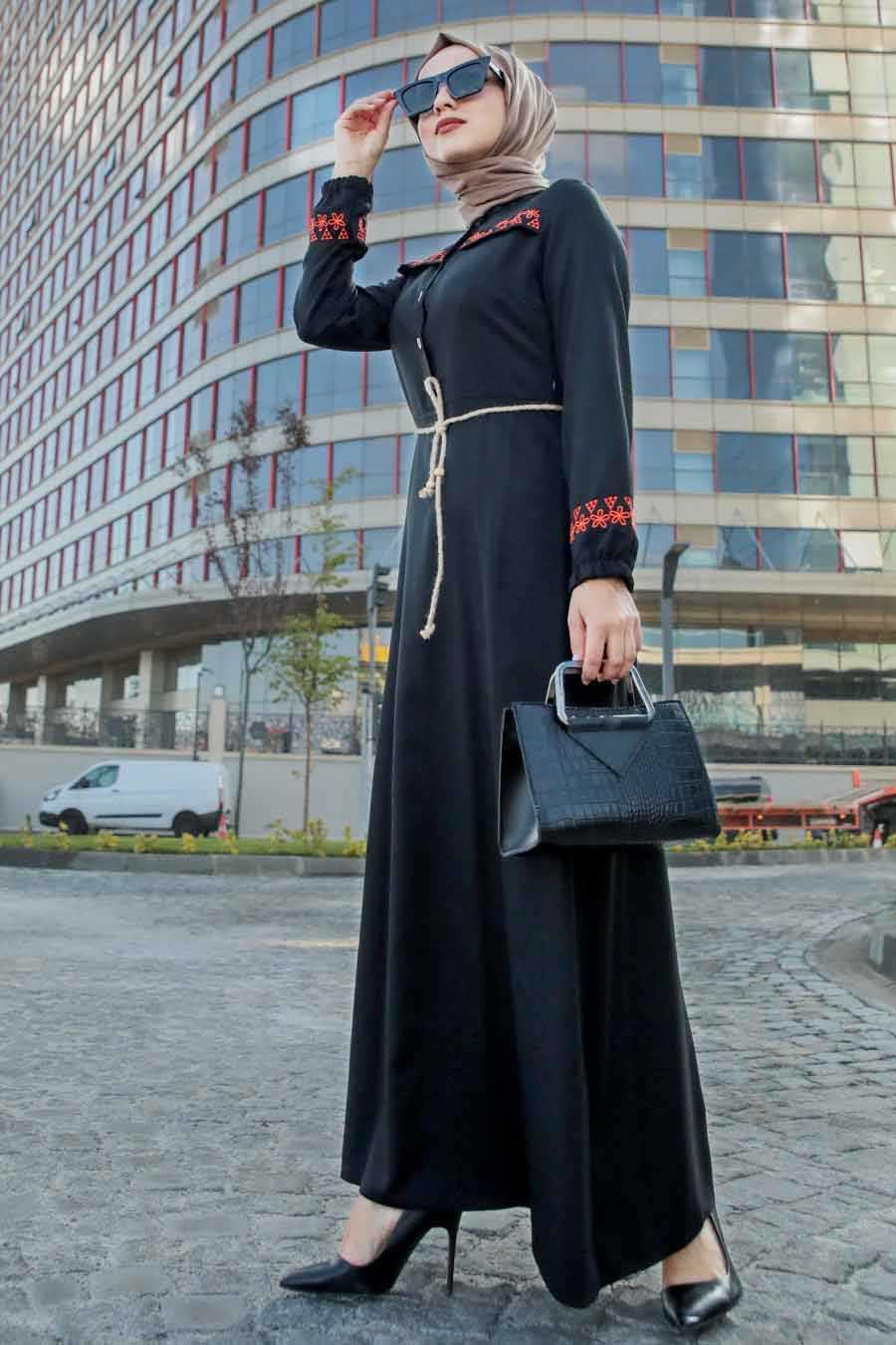 Düğmeli Siyah Tesettür Elbise 4285S