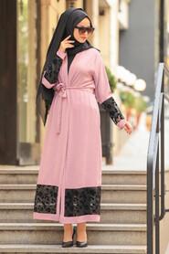 Dusty Rose Hijab Abaya Suit 221146GK - Thumbnail