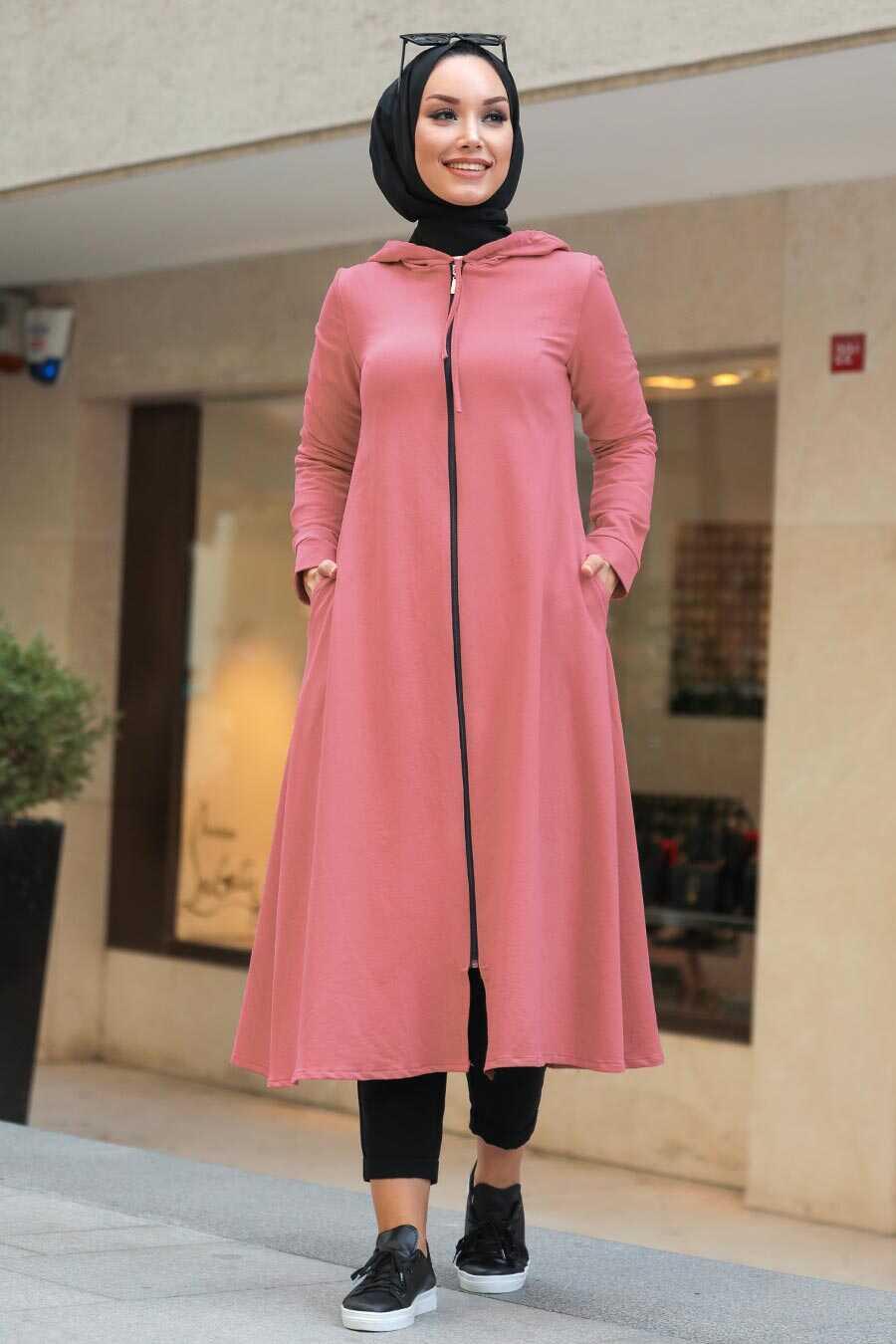 Dusty Rose Hijab Coat 22560GK