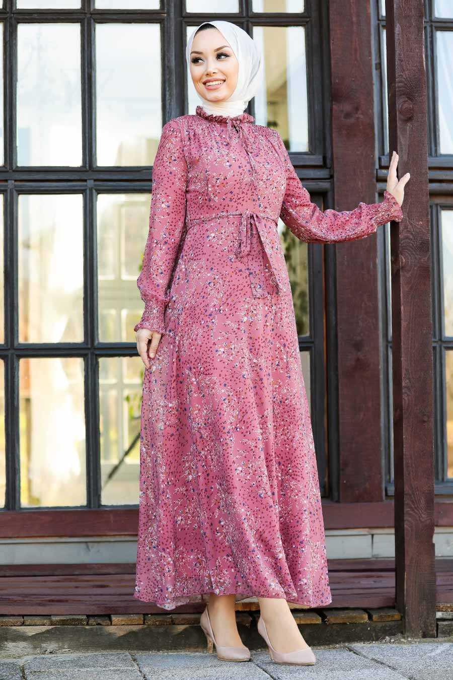 Dusty Rose Hijab Dress 27908GK