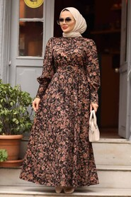 Dusty Rose Hijab Dress 44671GK - Thumbnail